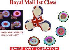Kids England Flag Hand Spinner Fidget Tri-Spinner EDC Toy LED UK 10Pcs fpr £10