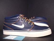 2011 Nike ZOOM STEFAN JANOSKI MID PREMIUM SB DARK OBSIDIAN BLUE BIRCH TAN DS 9.5