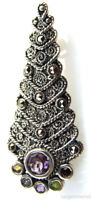 Sterling Silver Marcasite Christmas Tree Brooch Pin