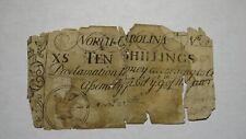 1754 Ten Shillings North Carolina NC Colonial Currency Note Bill! RARE 10s!