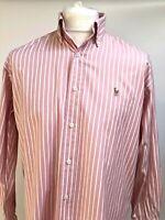 "RALPH LAUREN Mens Large 15.5"" Collar Pink Stripe Yarmouth Oxford Chambray Shirt"
