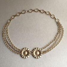 VINTAGE 60s Metallic GOLD Daisy FLOWER Chain LINK Eloxal WAIST Hip DISCO Belt