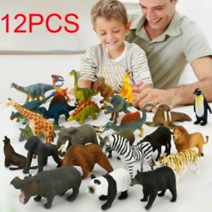 12 PCS Animal Model Plastic Figures Jungle Wild/Ocean/Zoo Animal Playset Kid Toy