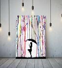BANKSY COLOURED RAIN GIRL UMBRELLA - DEEP FRAMED CANVAS WALL ART GRAFFITI PRINT <br/> MASSIVE DISCOUNTS + MORE BANKSY ART IN OUR SHOP