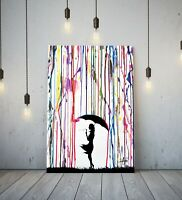 BANKSY COLOURED RAIN GIRL UMBRELLA - DEEP FRAMED CANVAS WALL ART GRAFFITI PRINT