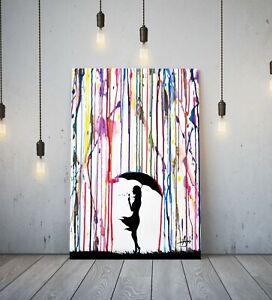 BANKSY COLOURED RAIN GIRL UMBRELLA - DEEP FRAMED CANVAS WALL ART GRAFFITI PRINT