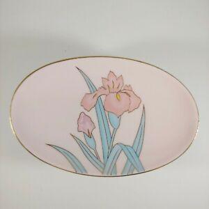 vtg Pink & Gold Floral Soap Dish - Gilded Iris Flower 80s Pastel Porcelain Tray