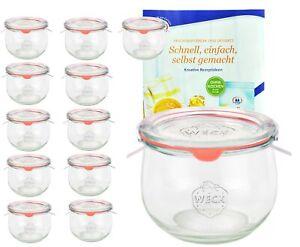 12 Weck Gläser 580ml Tulpenglas 1/2L Sturzglas Deckel Gummi Klammer Einmachglas