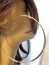 LARGE 4 inch HOOP EARRINGS FLAT SHINY SILVER OR GOLD TONE HOOP EARRINGS