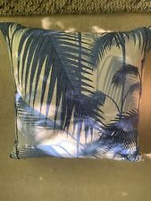 Two Jane Clayton Cole and Sons Palm Jungle Cushions Blue and White.