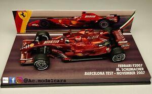 FERRARI F2007 Schumacher test barcelona 2007 1/43 no looksmart hot wheels