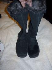 BLACK SKETCHERS SUEDE WINTER MID-CALF LEG BOOT Size 9 FUR BUCKLES
