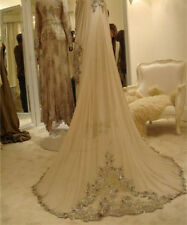 New Bridal Veil Champagne/White/Ivory Applique Beaded Wedding Veils With Comb