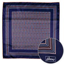 Men's BRIONI Red Purple Geometric Silk Hand Rolled Pocket Square Handkerchief