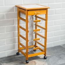 4 Tier Kitchen Trolley Wood Cart Basket Storage Drawer Tile Top By Home Discount