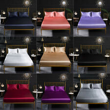 Queen King Fitted Bed Sheets Faux Silk Bedding Cover Soft Solid Color Home