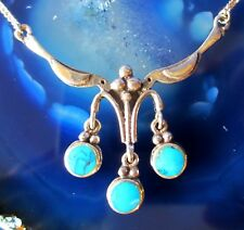2 Located --Leaning Birds Hold Drop Turquoise Necklace Sterling Silver 925