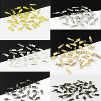 200PCS Gold /Silver Plated Fold Over Cord Crimp End Beads Tips Jewelry Findings
