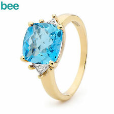 Topaz Solitaire with Accents Yellow Fine Rings