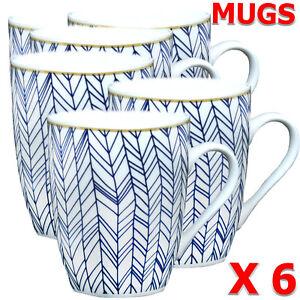 Mugs Tea Coffee CUPS - 310ml - Ceramic - STRIPE MUG ELEGAN SUPER HAPPY DAY MUG