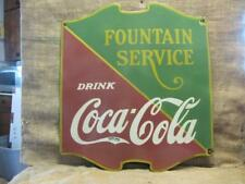 Vintage 1934 Porcelain Coca-Cola Fountain Sign > Antique Coke Soda RARE 9871