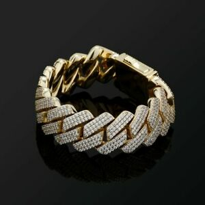 20mm 3Row CZ Micro Pave Cuban Link Chain Icy Out Ice Hop Hip Mens Bracelet