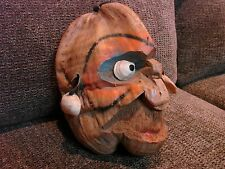 Antique Hand Carved Coconut Head Folk Art Tribal Face Seashell Eyes 55+ Yrs. Old