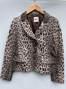 Moschino Cheap and Chic 46 Jacket Gray Black Leopard Print Blazer US 12