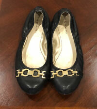 TAHARI Womens Slip on Flat Shoes Size 7M Leather Buckle BLACK