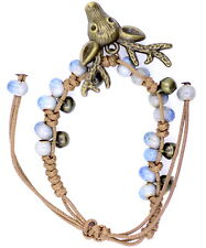 cute bronze coloured deer bracelet, adjustable, white and blue colured beads