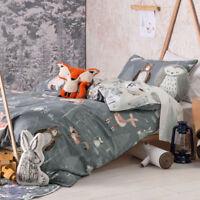 Hiccups Into The Woods Quilt | Doona Cover Set | Bears, Owls, Bunnies, Deer, Fox