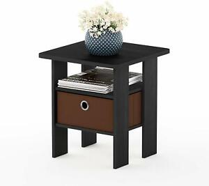 Furinno Living Room End Side Table with Drawer - Brown