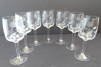 """(7) Vintage TOSCANY Etched Floral Water Goblets 7.5"""" - TOY13 Pattern Romania"""