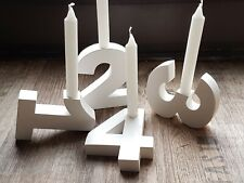 Zahlen Adventskranz 1 - 4 weiß Advent Weihnachten Adventskranzzahlen Adventszeit