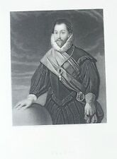 OLD ANTIQUE PRINT SIR FRANCIS DRAKE PORTRAIT SEA NAVIGATOR c1870's by W HOLL