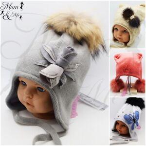 New Cute Girls Kids Hats Autumn Winter Cap Warm Lace Up Warmer Handmade Real Fur