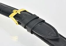 Replacement ROLEX Black Croc Leather Gold S/Steel Buckle Watch Strap 19mm