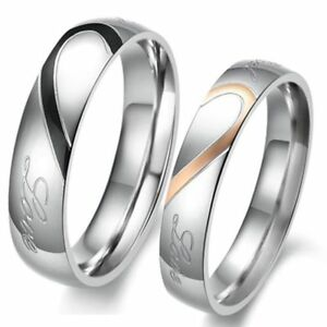 US Couple Real Love Ring Set Stainless Steel Wedding Promise Valentine's Gift D4