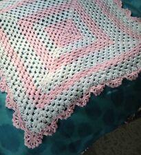 THREE WASH GUARANTEE Handmade Crochet Baby Blanket NEW Afghan Pink/White Shabby