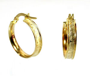 9ct Hoop Earrings Creole 9ct yellow gold 19mm fancy design New old stock!