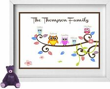 FAMILY TREE NAMES | Personalised Picture | Owl Figures | FREE POST | (NP161)