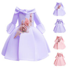 Flower Kids Off Shoulder Party Dress Girls Tutu Wedding Bridesmaid Dresses Gown
