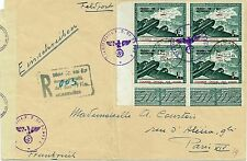 N°4 F VERT ET ROUGE-FRONT DE L'EST-OSTFRONT-BLOC 4/LETTRE-CENSURE NAZIE-06/03/44