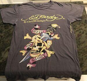 Don Ed Hardy by Christian Audigier Death Or Glory Skull T Shirt Medium Vintage