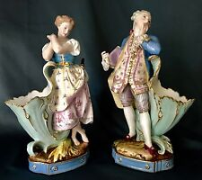 Antique French Vion & Baury Porcelain Pair Of Figurine Spill Vases, Very Rare