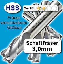 3mm Fräser L=34 Z=2 HSS Schaftfräser f. Metall Kunststoff Holz