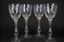 Libbey Rock Sharpe Antique Cut Glass Cranbook Set of 4 Claret Wine Glasses