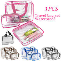 3 PCS Clear PVC Travel Wash Bag Cosmetic Makeup Toiletry Holder Pouch Set Kit JB