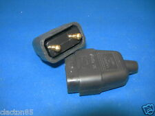 2 PIN 10 AMP BLACK RUBBER POWER CABLE LEAD PLUG CONNECTOR REPAIR JOINER