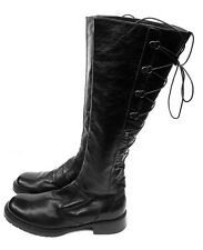 Barbara Bui Flat Corset Combat Boots Black Leather Knee High Sz US 9.5 Eur 40